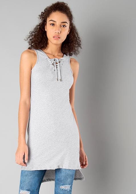 BASICS High Low Tie Up Tunic - Grey