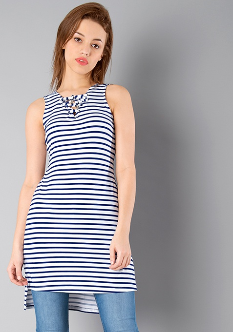 BASICS High Low Tie Up Tunic - Stripes