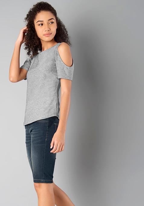 Jersey Cold Shoulder Top - Grey