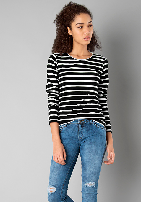 BASICS Rad Crew Neck Top - Stripes