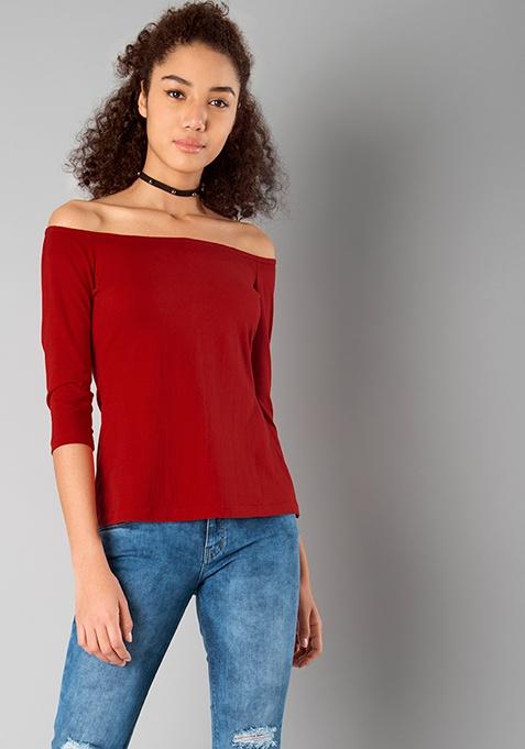 BASICS Off Shoulder Top - Red