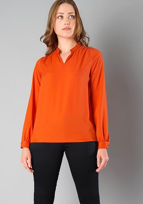 CLASSICS V-Neck Blouse - Orange