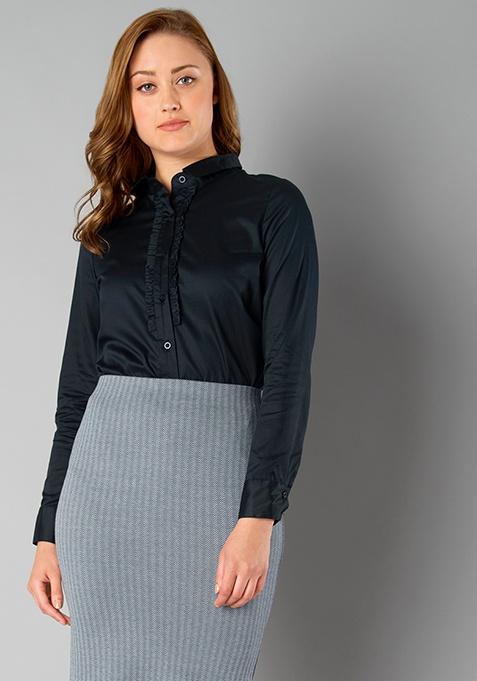 CLASSICS Ruffled Shirt - Navy