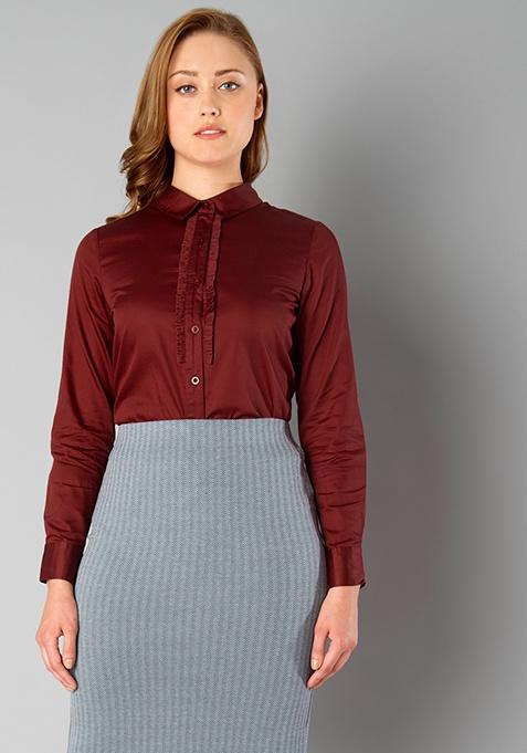 CLASSICS Ruffled Shirt - Oxblood