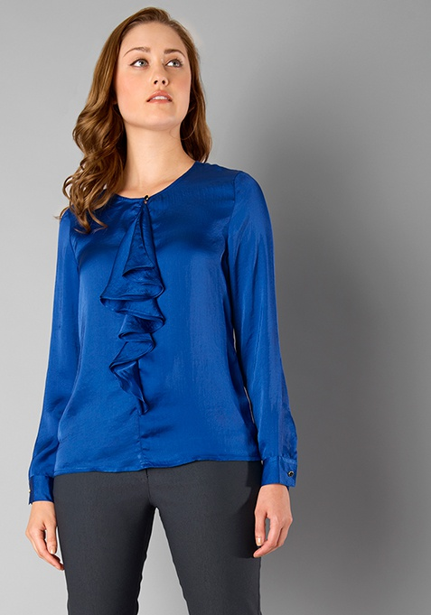CLASSICS Satin Ruffled Blouse - Blue