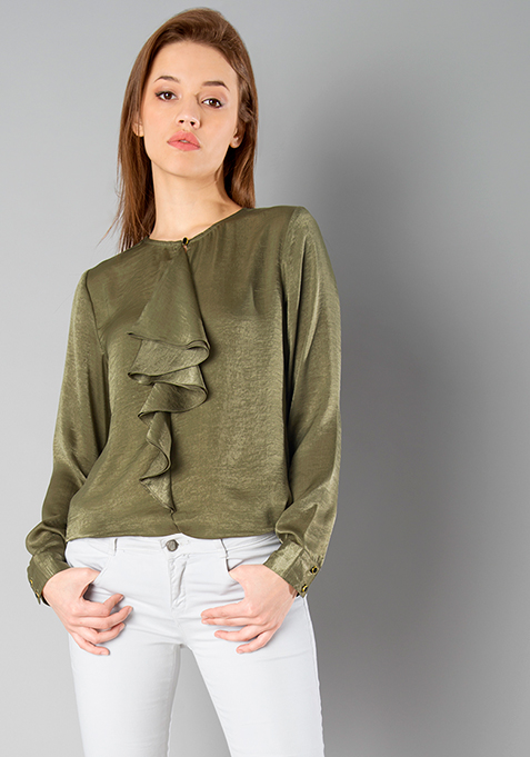 CLASSICS Satin Ruffled Blouse - Olive