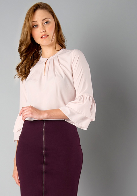 CLASSICS Layered Bell Sleeves Blouse - Blush