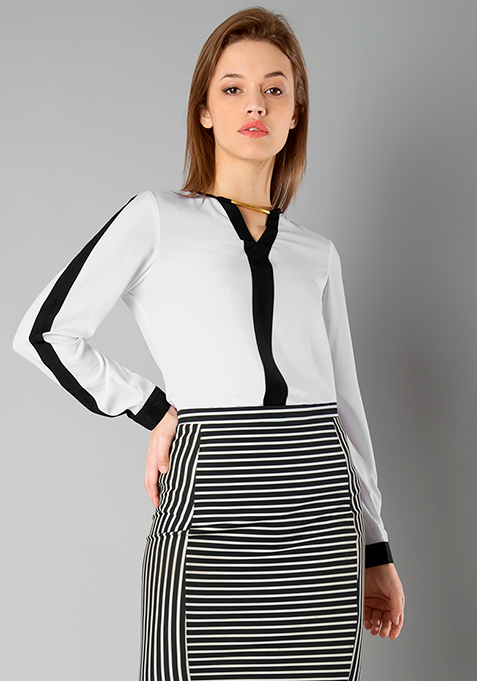 CLASSICS Piping Detail Blouse - White