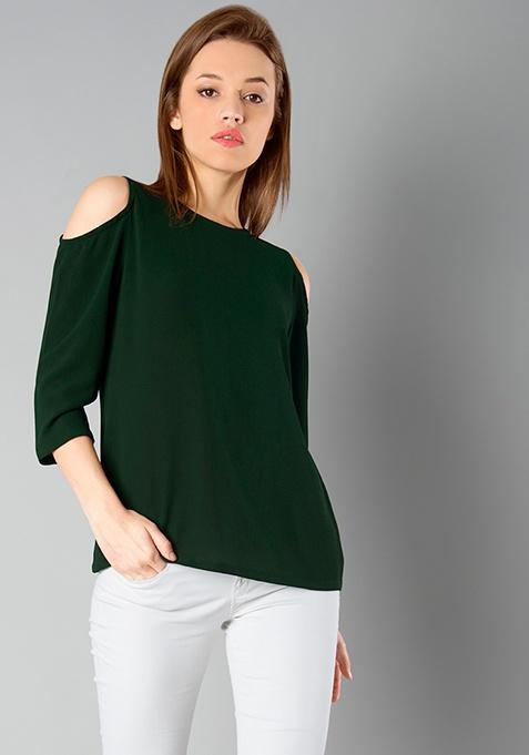 CLASSICS Cold Shoulder Top - Green