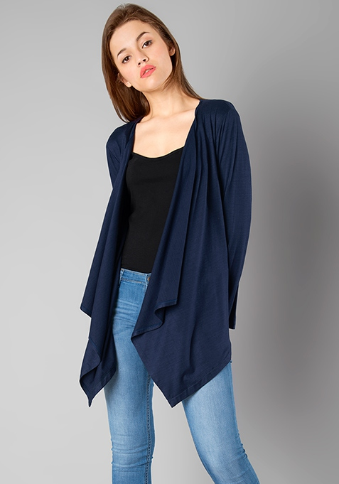 BASICS Jersey Drape Shrug - Navy