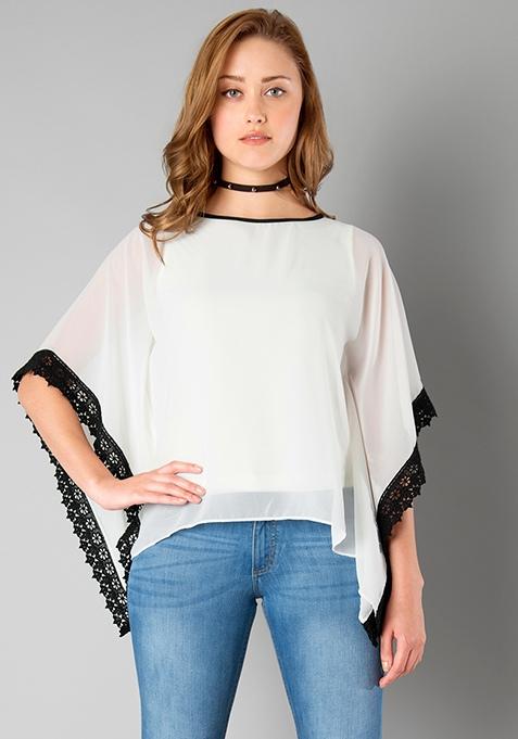 Lace Cape Top - White