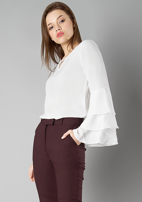 Three Layer Bell Sleeve Top - White