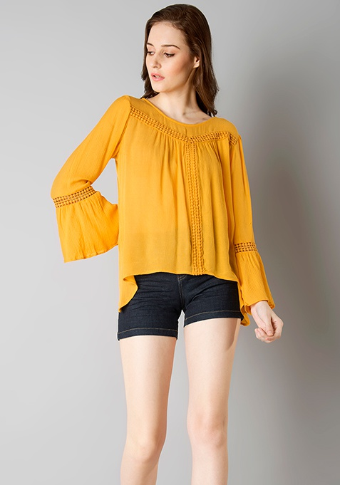 Bell Sleeved Ladder Lace Top - Mustard