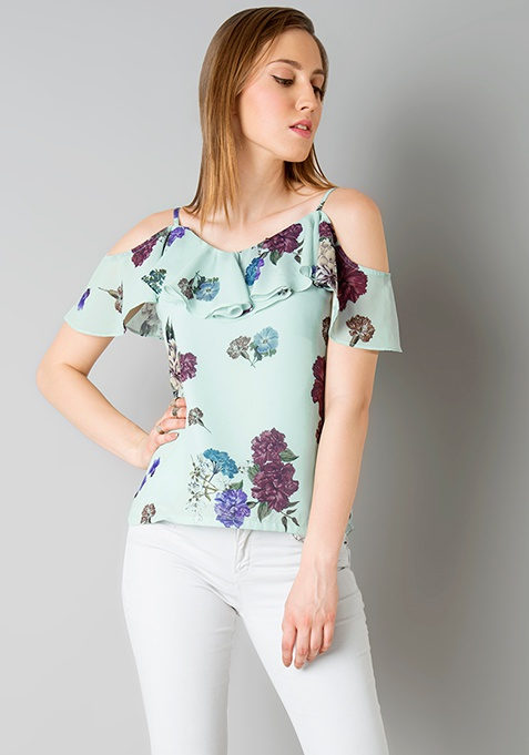 Strappy Cold Shoulder Top - Mint
