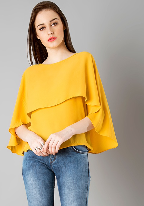 Layered Cape Top - Mustard