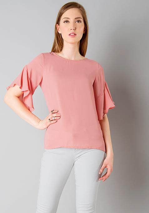 Ruffled Sleeve Top - Dusty Pink