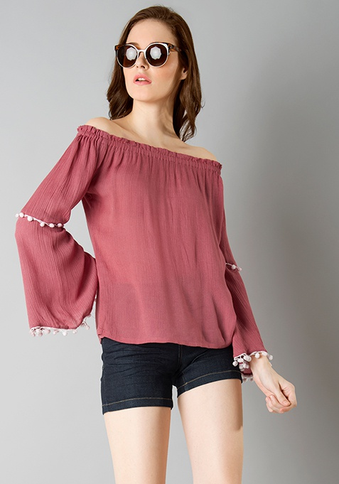 Boho Bardot Top - Dusty Pink