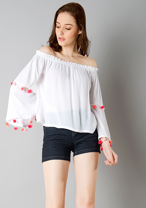 Pink Pom Pom Off Shoulder Top - White