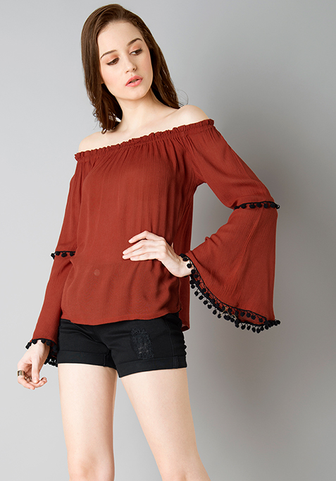 Pom Pom Off Shoulder Top - Rust
