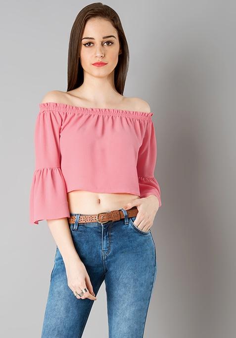Bardot Bell Sleeves Crop Top - Pink