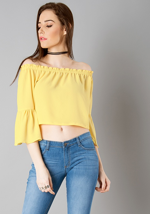 Off Shoulder Crop Top - Yellow