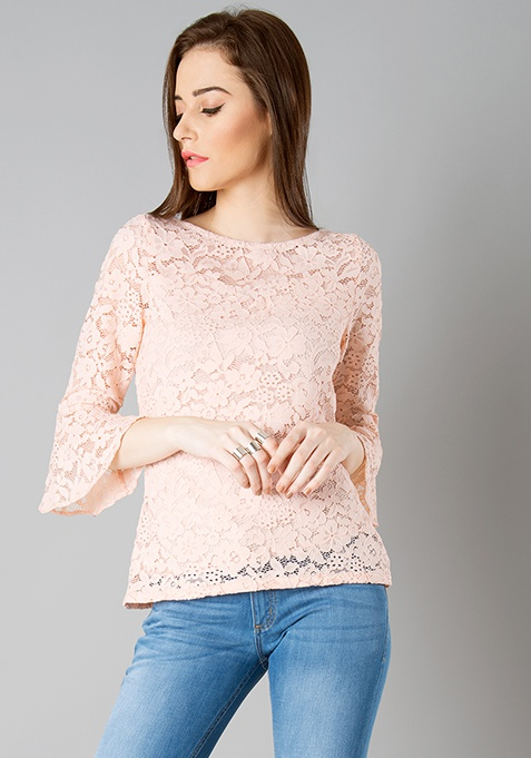 Bell Sleeve Lace Top - Blush
