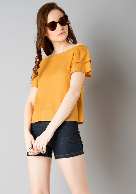 Layered Sleeve Off Shoulder Top - Mustard
