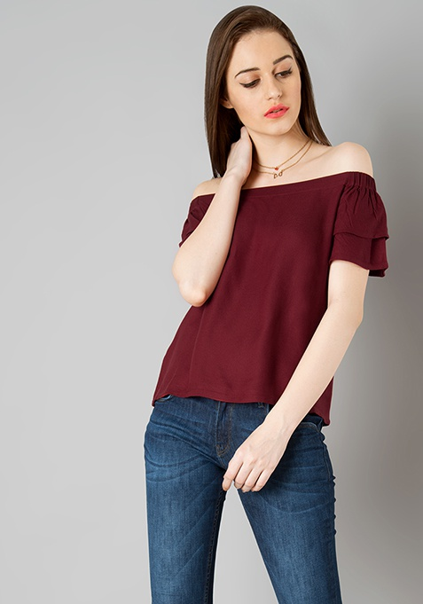 Double Flared Sleeve Top - Oxblood