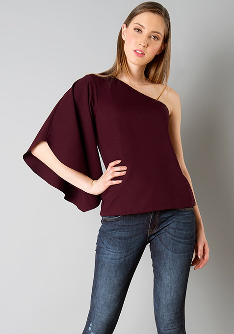One Shoulder Flared Sleeve Top - Wine