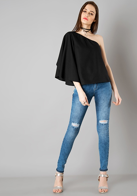 One Shoulder Flared Sleeve Top - Black
