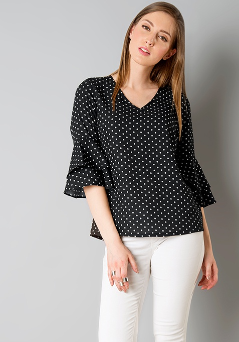 Double Layer Bell Sleeve Top -  Polka