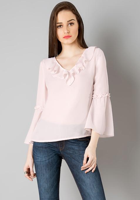 Ruffled Bell Sleeves Top - Blush