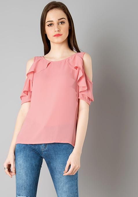 Frilled Cold Shoulder Top - Pink