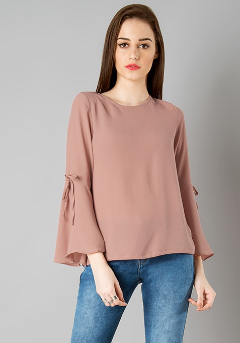 Tie Up Bell Sleeve Top - Dusty Pink