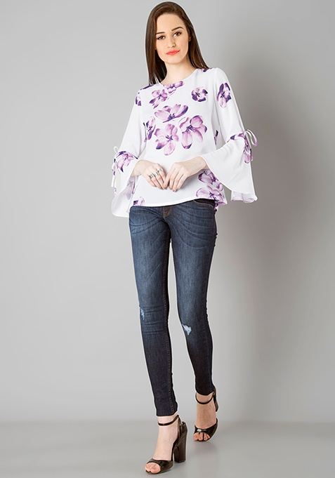 Tie Up Bell Sleeve Top - White Floral