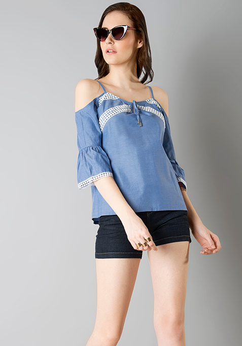 Strappy Bell Sleeve Top - Blue