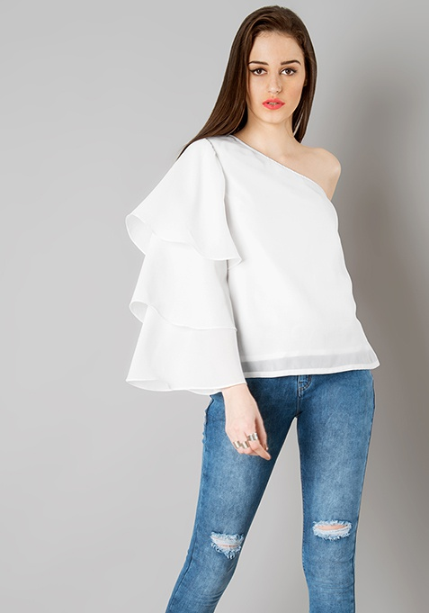 One Shoulder Tiered Sleeve Top - White