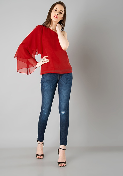 One Shoulder Tiered Sleeve Top - Red