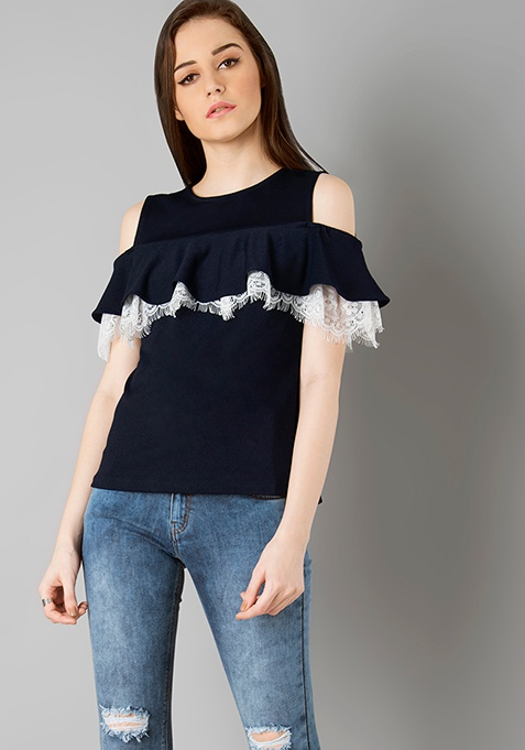 Lace Ruffle Cold Shoulder Top - Navy