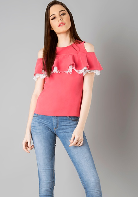 Lace Ruffle Cold Shoulder Top - Coral