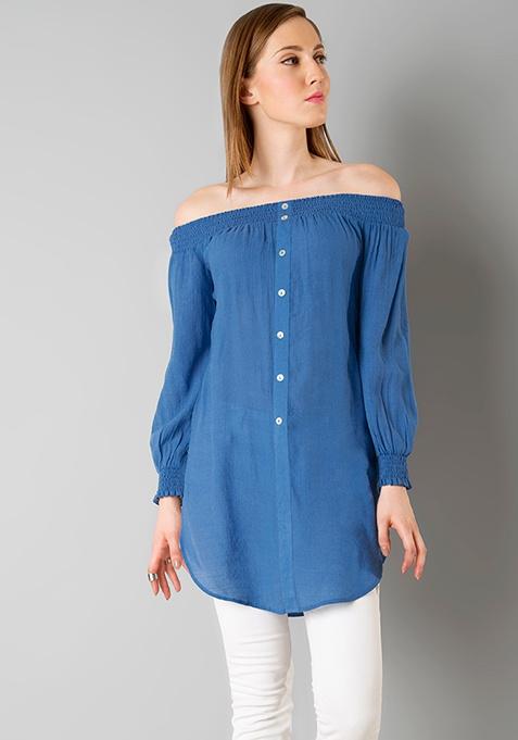 Smocked Bardot Longline Top - Blue
