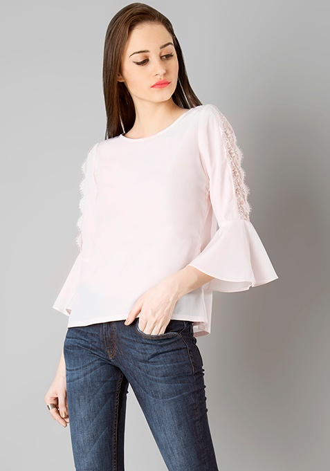 Lace Insert Bell Sleeve Top - Blush