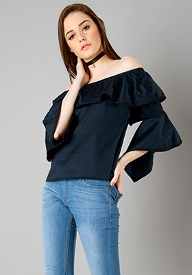 Piped Asymmetric Bell Sleeve Top - Navy