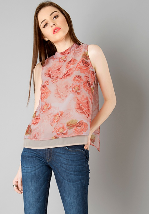 Double Layered Top - Red Floral