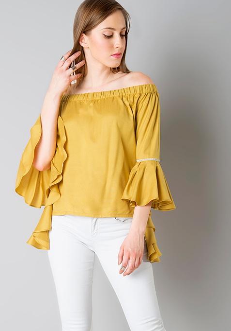 Off Shoulder Flutter Sleeve Top - Mustard