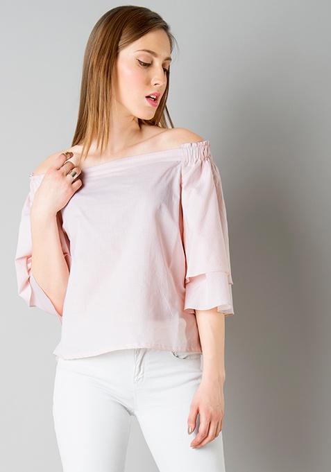 Collared Off Shoulder Top - Pink Stripes
