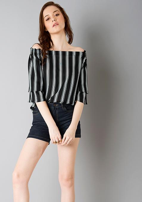 Collared Off Shoulder Top - Black Stripes