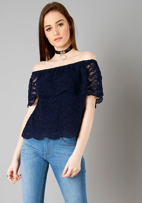 Off Shoulder Ruffled Lace Top - Navy