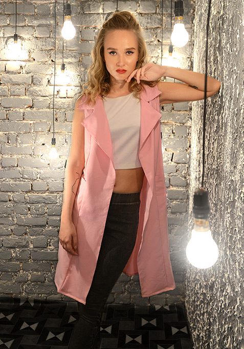 Sleeveless Longline Shrug - Pink