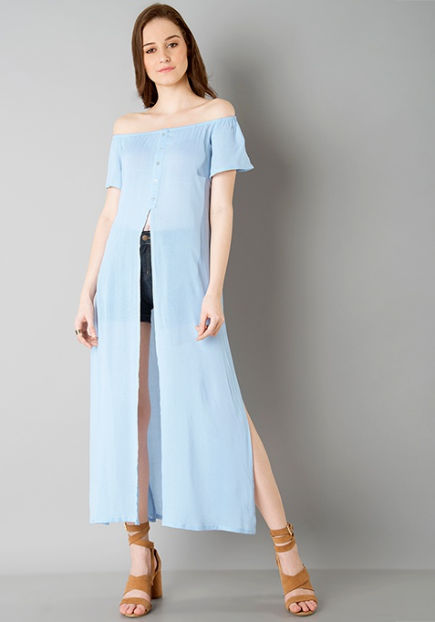 Off Shoulder Maxi Top - Blue